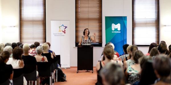 IMG:  Catherine Deveny at the Queen Victoria Women's Centre Leadership Oration